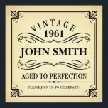 """Vintage Aged to Perfection Funny Birthday Invite<br><div class=""""desc"""">Black text on vintage background - wine label look birthday party invitation. Vintage 1944 1945 1946 1947 1948 1949 1950 1951 1952 1953 1954 1955 1956 1957 1958 1959 1960 1961 1962 1963 1964 1965 1966 1967 1968 1969 1970 1971 1972 1973 1974 1975 1976 1977 1978 1979 1980 1981...</div>"""