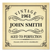 Vintage Aged to Perfection Funny Birthday Invite