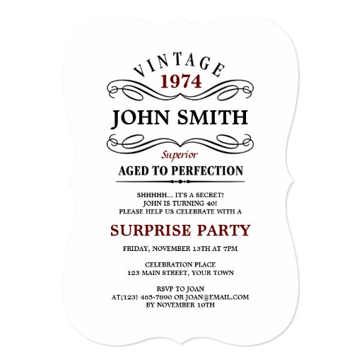 Vintage Aged to Perfection Funny Birthday Invite | Zazzle