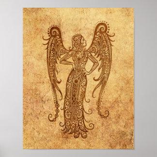 Vintage Aged Virgo Zodiac Print