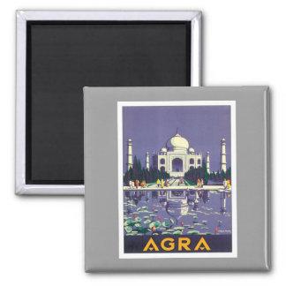 Vintage Agra el Taj Mahal la India Imán Cuadrado