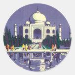 Vintage Agra el Taj Mahal la India Pegatina Redonda