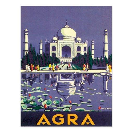 Vintage Agra el Taj Mahal la India Tarjeta Postal