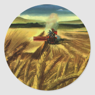 Vintage Agricultural Farm Business, Wheat Farming Classic Round Sticker