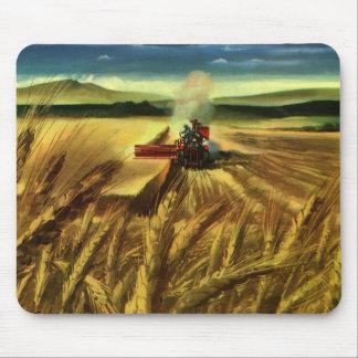 Vintage Agricultural Farm Business, Wheat Farming Mouse Pad