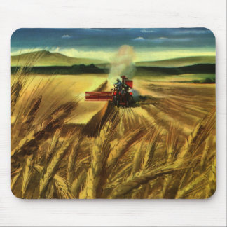 Vintage Agricultural Farm Business, Wheat Farming Mouse Pad