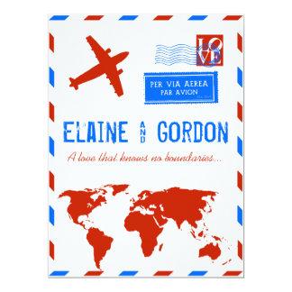 "Vintage Air Mail Wedding Invitation 6.5"" X 8.75"" Invitation Card"