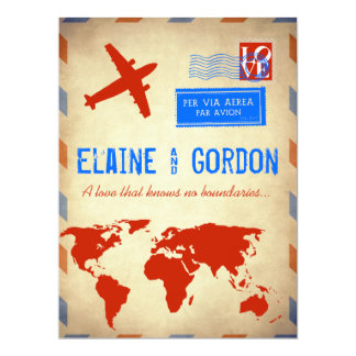 Vintage Air Mail Wedding Invitation: Distressed