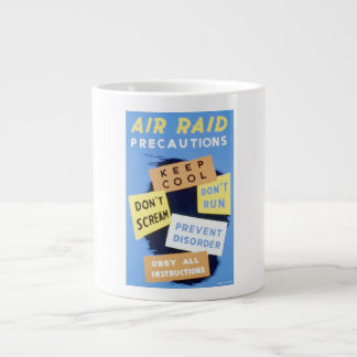 Vintage Air Raid Precautions WPA Poster Large Coffee Mug