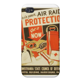 Vintage Air Raid Protection Defense WPA Poster iPhone 4/4S Cover
