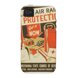 Vintage Air Raid Protection Defense WPA Poster iPhone 4 Case