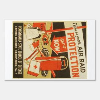 Vintage Air Raid Protection Defense WPA Poster Lawn Sign