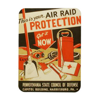 Vintage Air Raid Protection Defense WPA Poster Magnet