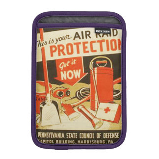Vintage Air Raid Protection Defense WPA Poster Sleeve For iPad Mini