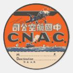 Vintage Air Travel Label Classic Round Sticker