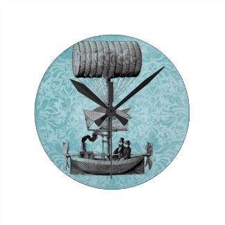 Vintage Airboat |Blue Damask Round Wallclock