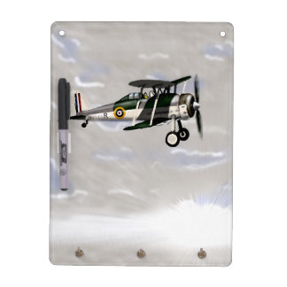 Vintage Aircraft Dry wipe Dry Erase Board With Keychain Holder