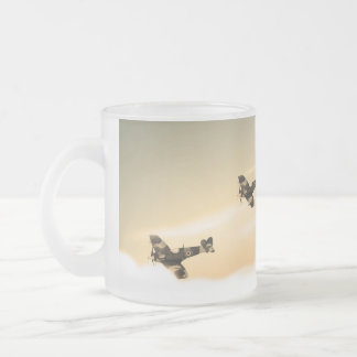 Vintage Aircraft Frosted Glass Coffee Mug