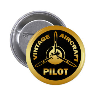 VINTAGE AIRCRAFT PILOT PINBACK BUTTON
