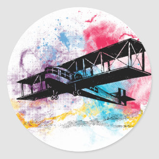 Vintage Aircraft with colorful clouds Classic Round Sticker