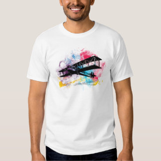 Vintage Aircraft with colorful clouds T Shirt