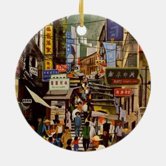 Vintage Airline Hong Kong China Travel Ceramic Ornament
