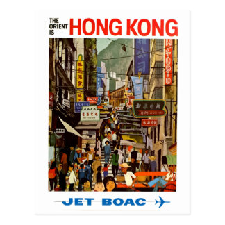 Vintage Airline Hong Kong China Travel Postcard