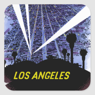 Vintage Airline Travel Los Angeles Square Sticker