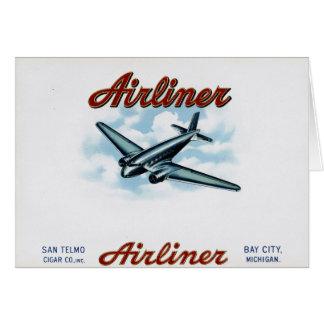 Vintage Airliner Cigar Box Label Retro Card