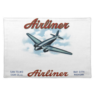 Vintage Airliner Cigar Box Label Retro Cloth Place Mat