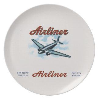 Vintage Airliner Cigar Box Label Retro Plate