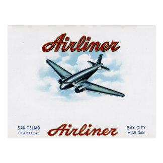 Vintage Airliner Cigar Box Label Retro Postcard