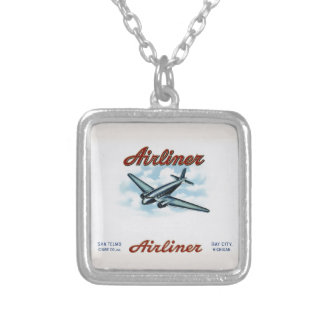 Vintage Airliner Cigar Box Label Retro Silver Plated Necklace