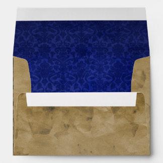 Vintage Airmail Deep Blue Damask A7 Envelope