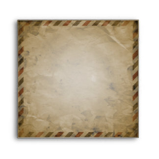 Vintage Airmail Deep Purple Damask Square Envelope