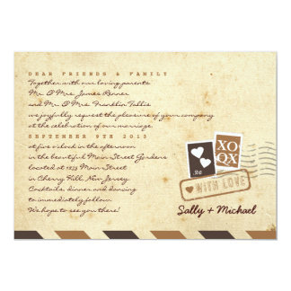 Vintage Airmail Love Letter Personalized Note 5x7 Paper Invitation Card