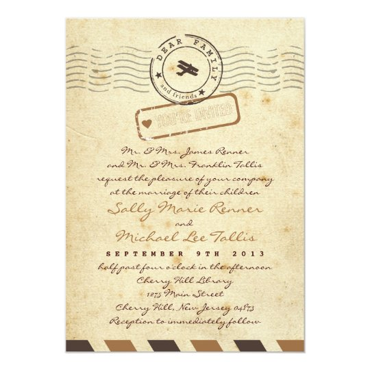 Vintage Airmail Love Letter Wedding Invitation Zazzle Com