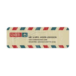 Vintage Airmail RETURN ADDRESS Mailing Label