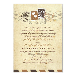 Vintage Airmail Stamps Love Letter Invitation