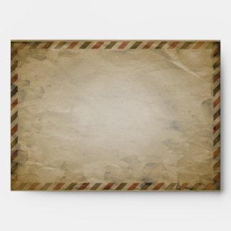 Vintage Airmail Turquoise Damask A7 Envelope
