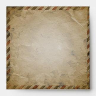 Vintage Airmail Turquoise Damask Square Envelope