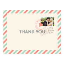 Vintage Airmail Wedding Thank You note with photo Postcard