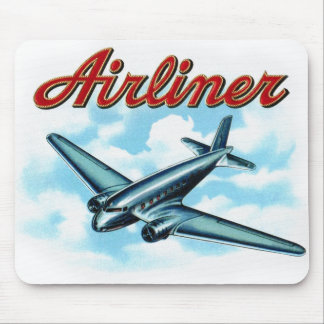 Vintage Airplane Airliner Cigar Label Mouse Pad
