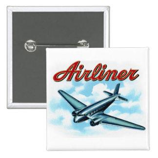 Vintage Airplane Airliner Cigar Label Pinback Button