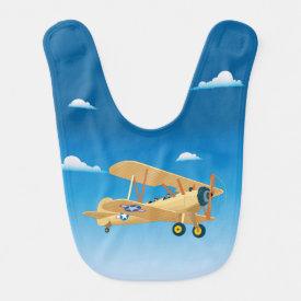 Vintage Airplane Baby Bib