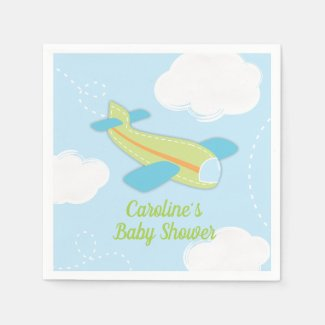 Vintage Airplane Baby Shower in Green and Blue Napkin