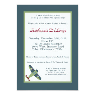 "Vintage Airplane Baby Shower Invitation 5"" X 7"" Invitation Card"