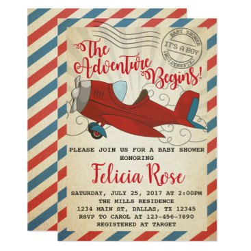 Toddler & Baby themed Vintage Airplane Baby Shower Invitation Invite
