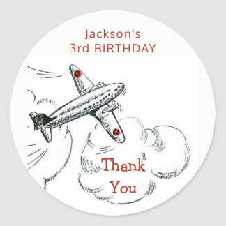 Vintage Airplane Birthday Party Favor Thank You Classic Round Sticker