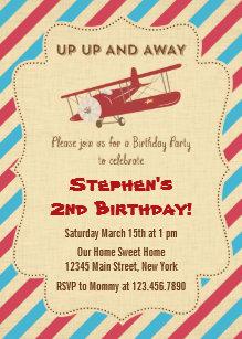 Airplane birthday invitations zazzle vintage airplane birthday party invitation filmwisefo